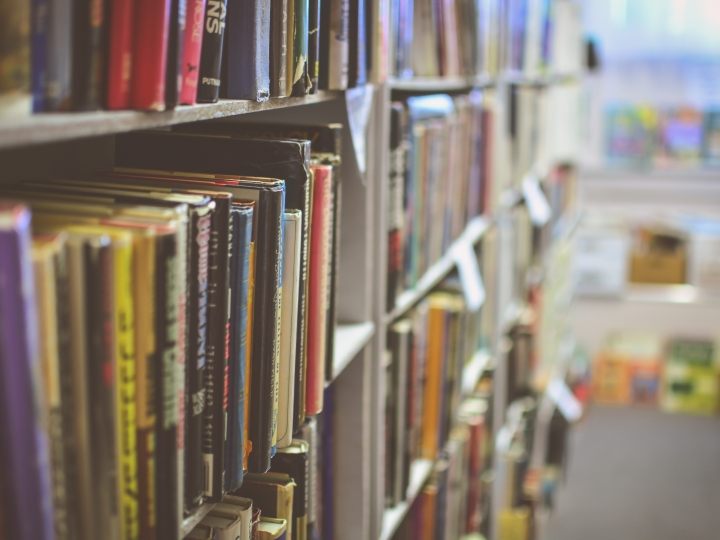 A photograph of books on bookshelves in a library or bookstore, viewed at an angle.
